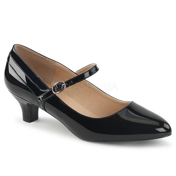 Klassische Mary Jane Pumps schwarz Lack FAB-425